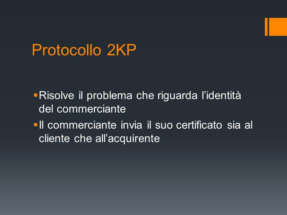 Protocollo 2KP Risolve il problema che riguarda lidentità del commerciante Il commerciante invia il suo certificato sia al cliente che allacquirente
