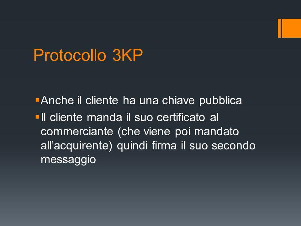 Protocollo 3KP Anche il cliente ha una chiave pubblica Il cliente manda il suo certificato al commerciante (che viene poi mandato allacquirente) quind