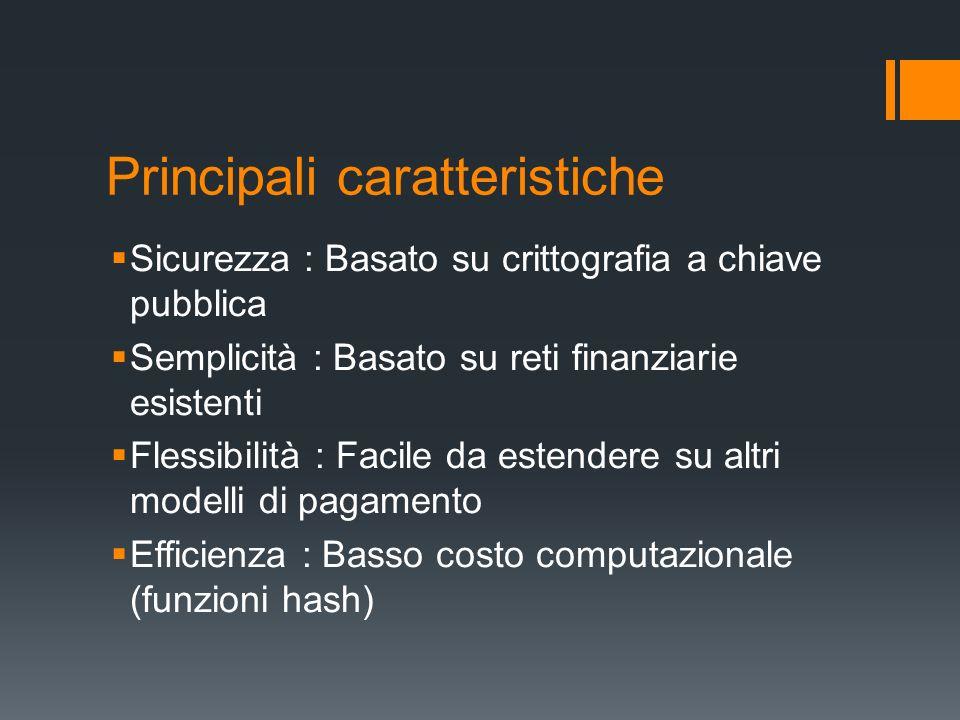 Principali caratteristiche Sicurezza : Basato su crittografia a chiave pubblica Semplicità : Basato su reti finanziarie esistenti Flessibilità : Facil