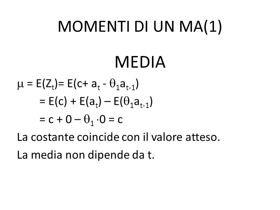 MOMENTI DI UN MA(1) MEDIA = E(Z t )= E(c+ a t - 1 a t-1 ) = E(c) + E(a t ) – E( 1 a t-1 ) = c + 0 – 1 0 = c La costante coincide con il valore atteso.