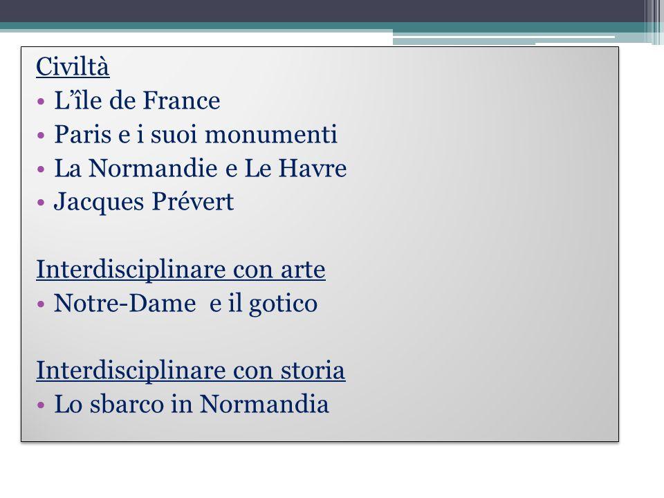 Civiltà Lîle de France Paris e i suoi monumenti La Normandie e Le Havre Jacques Prévert Interdisciplinare con arte Notre-Dame e il gotico Interdiscipl