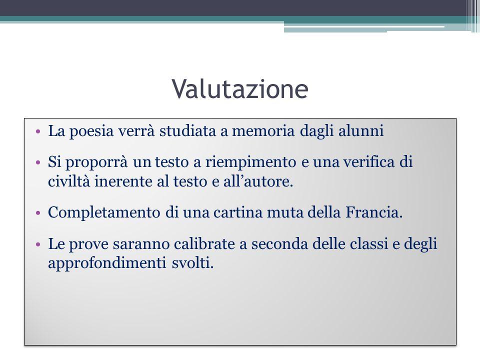 Valutazione La poesia verrà studiata a memoria dagli alunni Si proporrà un testo a riempimento e una verifica di civiltà inerente al testo e allautore