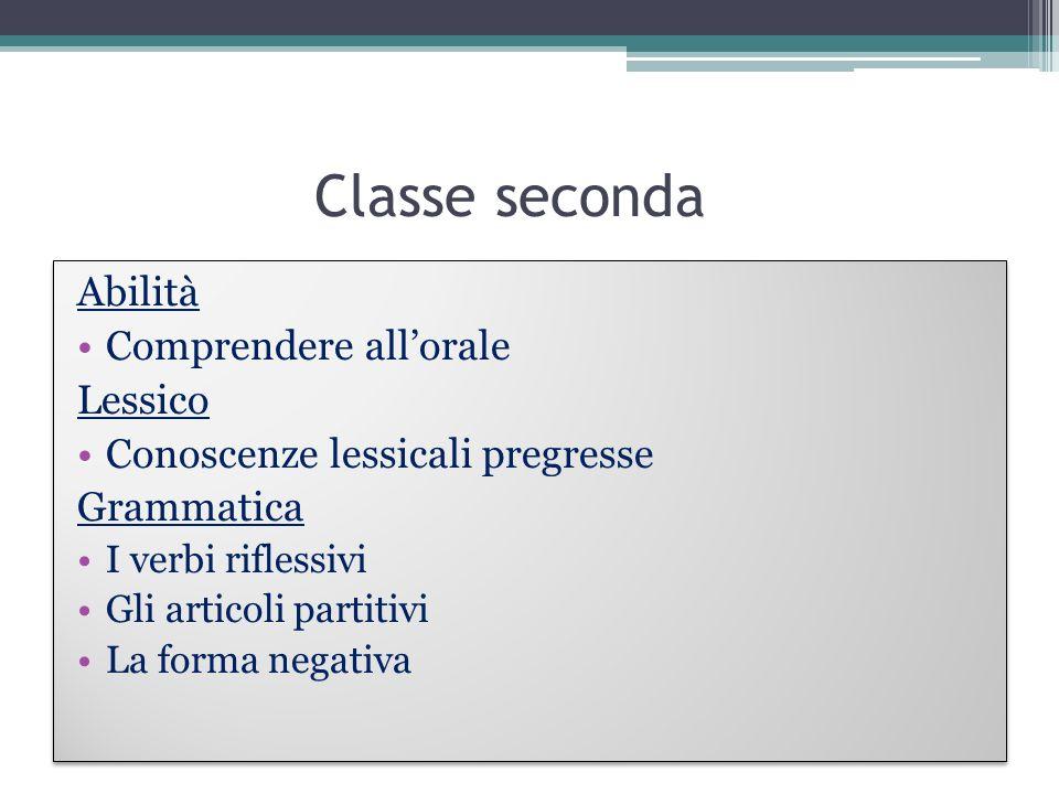 Classe seconda Abilità Comprendere allorale Lessico Conoscenze lessicali pregresse Grammatica I verbi riflessivi Gli articoli partitivi La forma negat