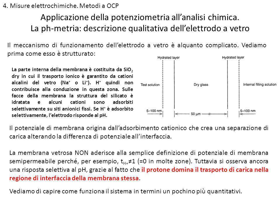 4. Misure elettrochimiche. Metodi a OCP La ph-metria: descrizione qualitativa dellelettrodo a vetro Applicazione della potenziometria allanalisi chimi