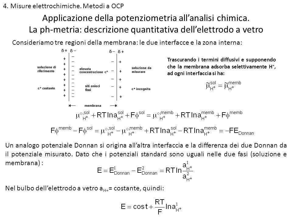 4. Misure elettrochimiche. Metodi a OCP La ph-metria: descrizione quantitativa dellelettrodo a vetro Applicazione della potenziometria allanalisi chim