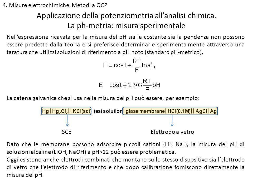 4. Misure elettrochimiche. Metodi a OCP La ph-metria: misura sperimentale Applicazione della potenziometria allanalisi chimica. Nellespressione ricava