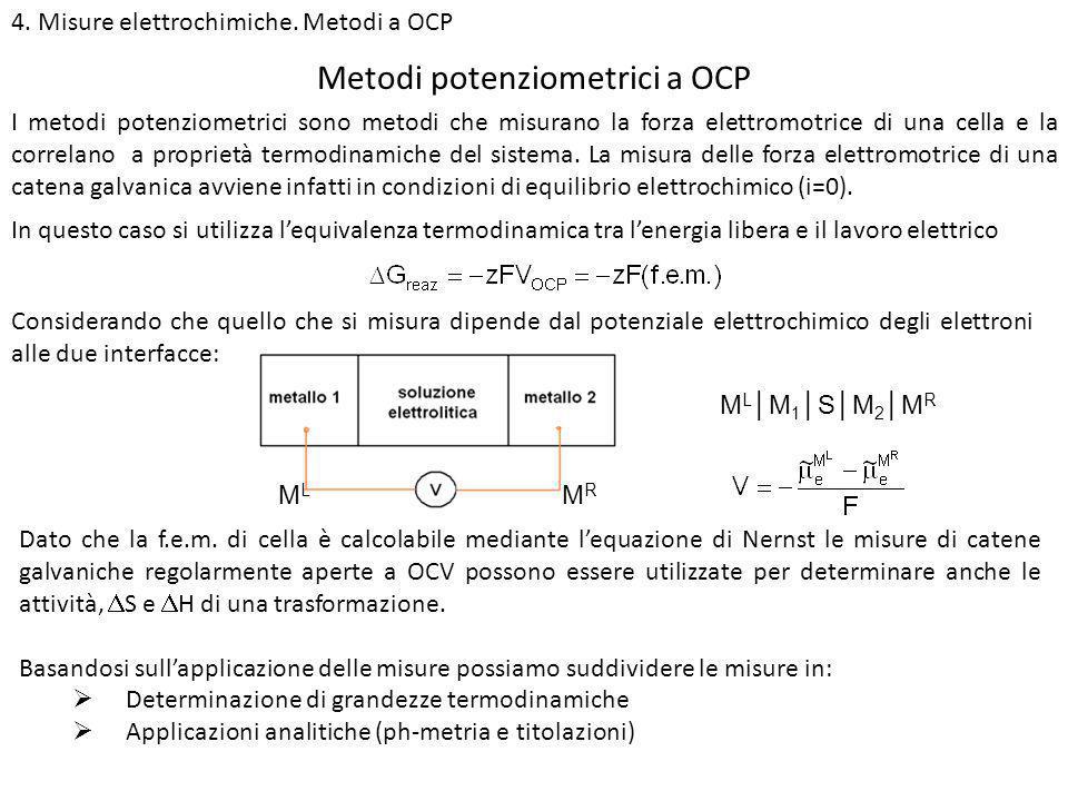 4. Misure elettrochimiche. Metodi a OCP Metodi potenziometrici a OCP I metodi potenziometrici sono metodi che misurano la forza elettromotrice di una