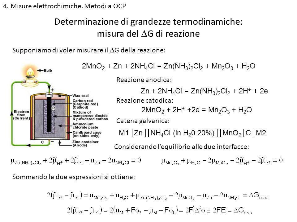 4. Misure elettrochimiche. Metodi a OCP Determinazione di grandezze termodinamiche: misura del G di reazione Supponiamo di voler misurare il G della r