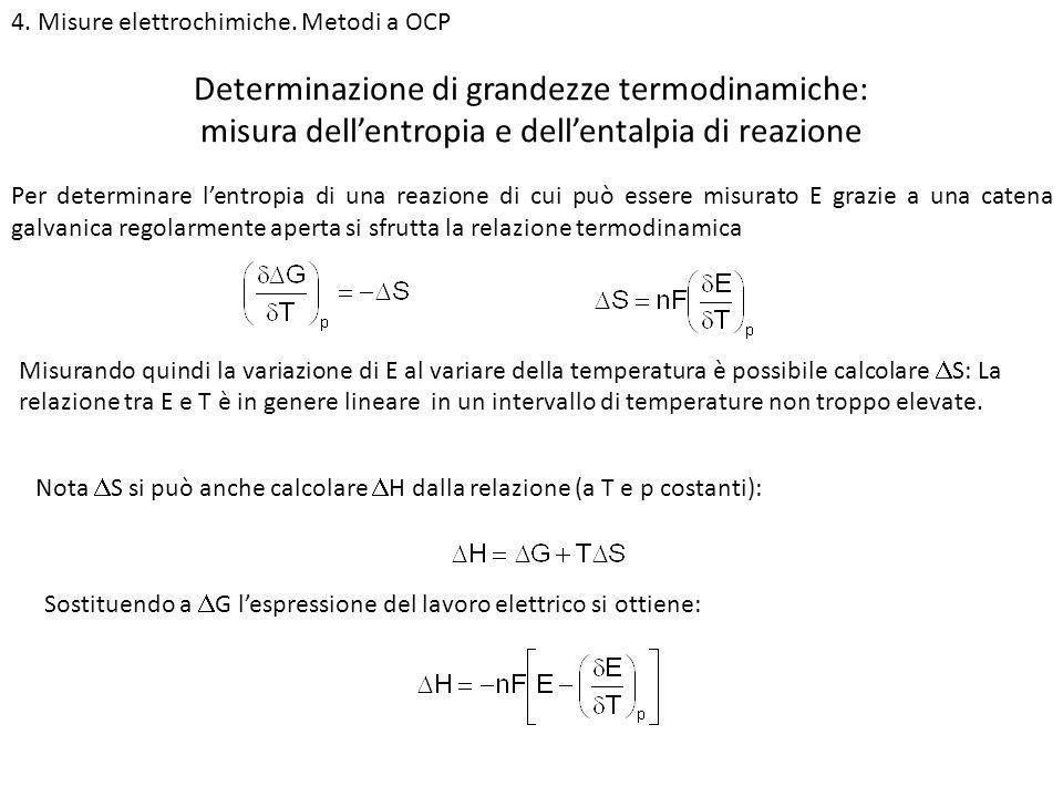 4. Misure elettrochimiche. Metodi a OCP Determinazione di grandezze termodinamiche: misura dellentropia e dellentalpia di reazione Per determinare len