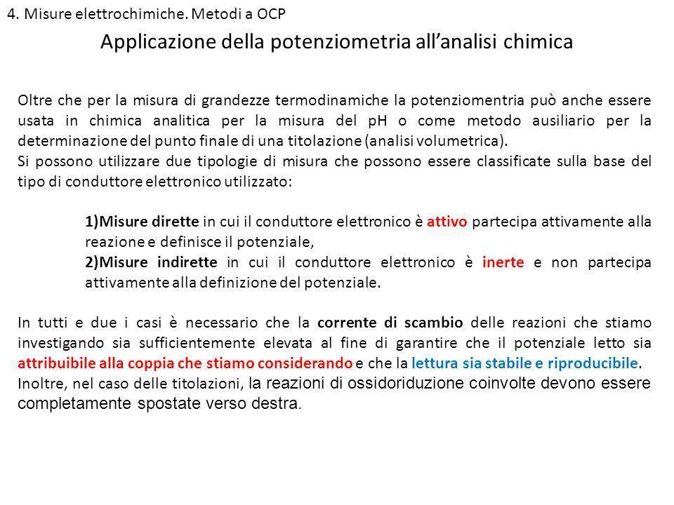 4. Misure elettrochimiche. Metodi a OCP Applicazione della potenziometria allanalisi chimica Oltre che per la misura di grandezze termodinamiche la po