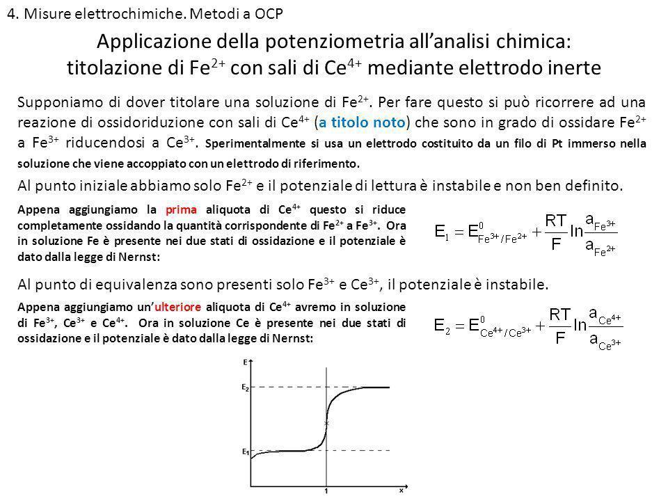 4. Misure elettrochimiche. Metodi a OCP titolazione di Fe 2+ con sali di Ce 4+ mediante elettrodo inerte Supponiamo di dover titolare una soluzione di
