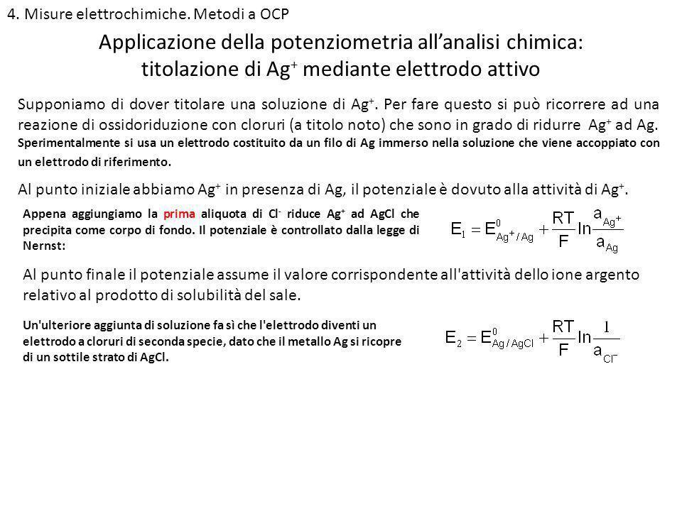 4. Misure elettrochimiche. Metodi a OCP titolazione di Ag + mediante elettrodo attivo Supponiamo di dover titolare una soluzione di Ag +. Per fare que