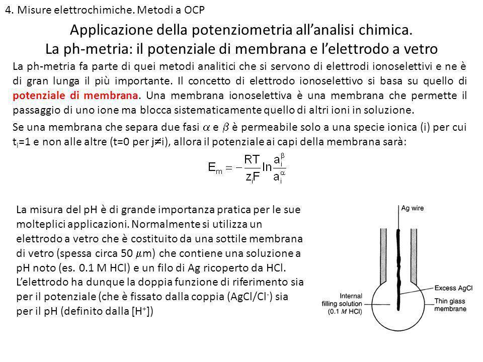 4. Misure elettrochimiche. Metodi a OCP La ph-metria: il potenziale di membrana e lelettrodo a vetro Applicazione della potenziometria allanalisi chim