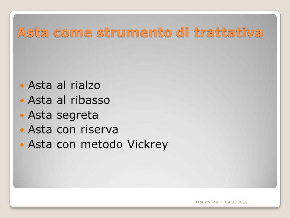 Asta come strumento di trattativa Asta al rialzo Asta al ribasso Asta segreta Asta con riserva Asta con metodo Vickrey aste on line -- 09.03.2012