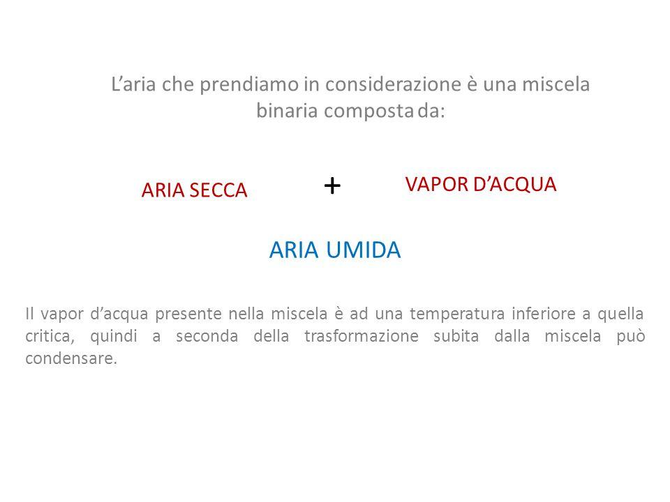 Si ipotizza per laria secca e per il vapor dacqua un comportamento di GAS IDEALE Ciò è possibile avendo alcune condizioni: PRESSIONE PROSSIMA A QUELLA ATMOSFERICA - 50°C < T < 50°C