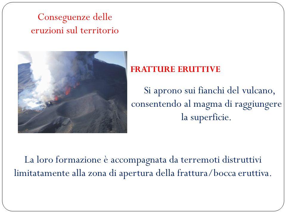 FRATTURE ERUTTIVE Si aprono sui fianchi del vulcano, consentendo al magma di raggiungere la superficie. Conseguenze delle eruzioni sul territorio La l