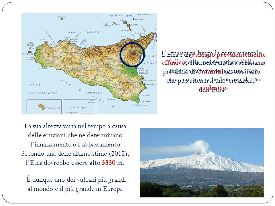 LEtna sorge lungo la costa orientale della Sicilia, nel territorio della provincia di Catania, un territorio che può ritenersi una creazione dellEtna