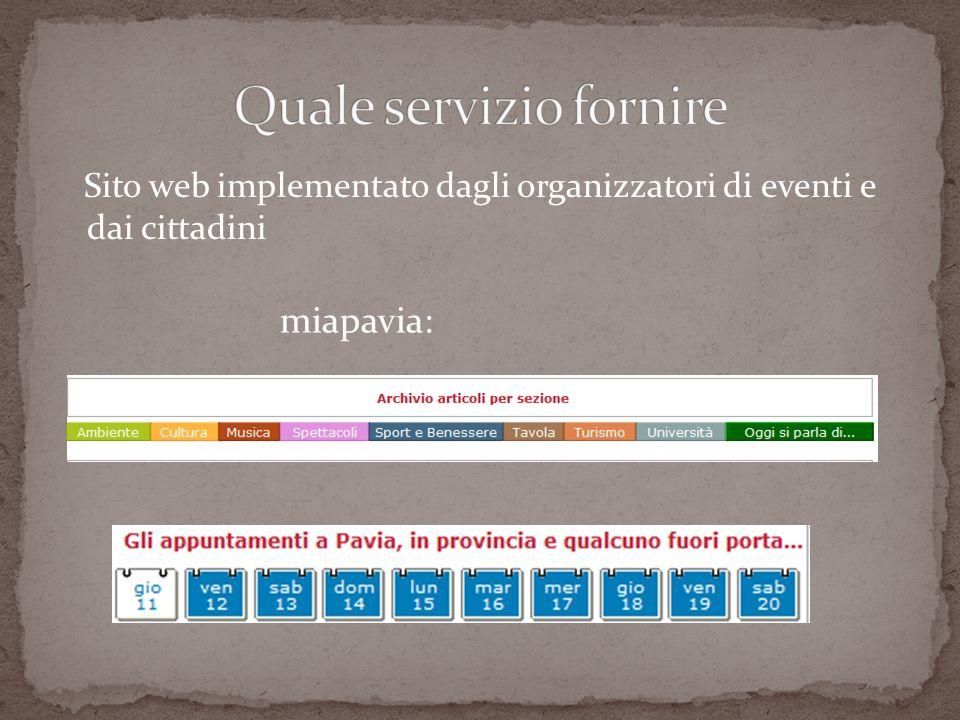 Sito web implementato dagli organizzatori di eventi e dai cittadini miapavia: