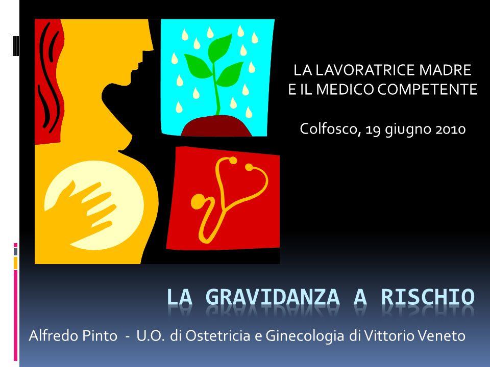 Alfredo Pinto - U.O. di Ostetricia e Ginecologia di Vittorio Veneto LA LAVORATRICE MADRE E IL MEDICO COMPETENTE Colfosco, 19 giugno 2010