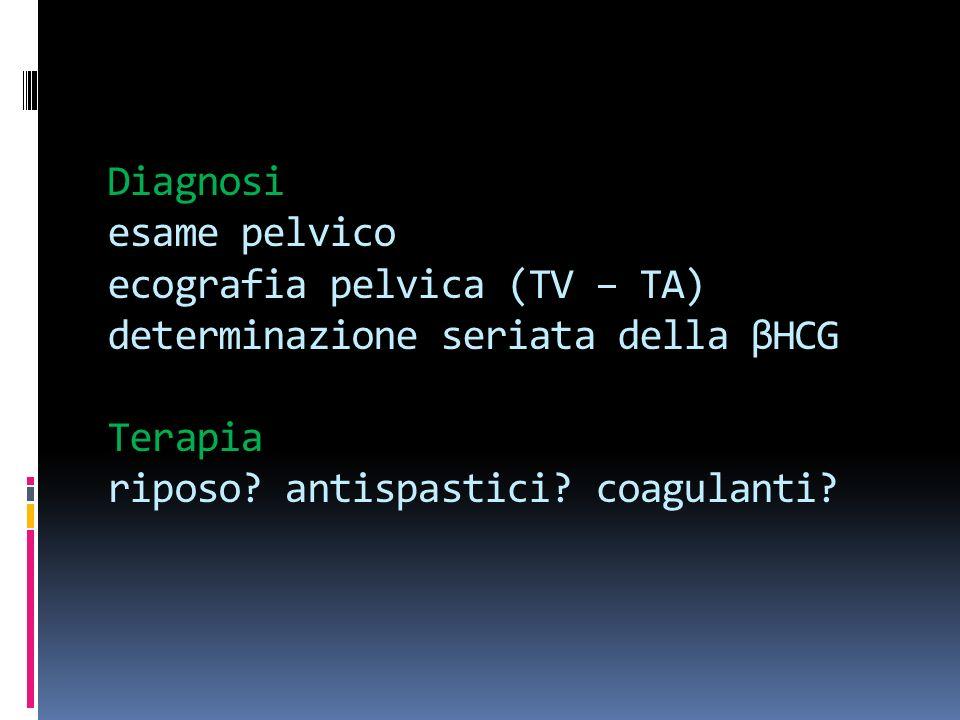 Diagnosi esame pelvico ecografia pelvica (TV – TA) determinazione seriata della βHCG Terapia riposo? antispastici? coagulanti?