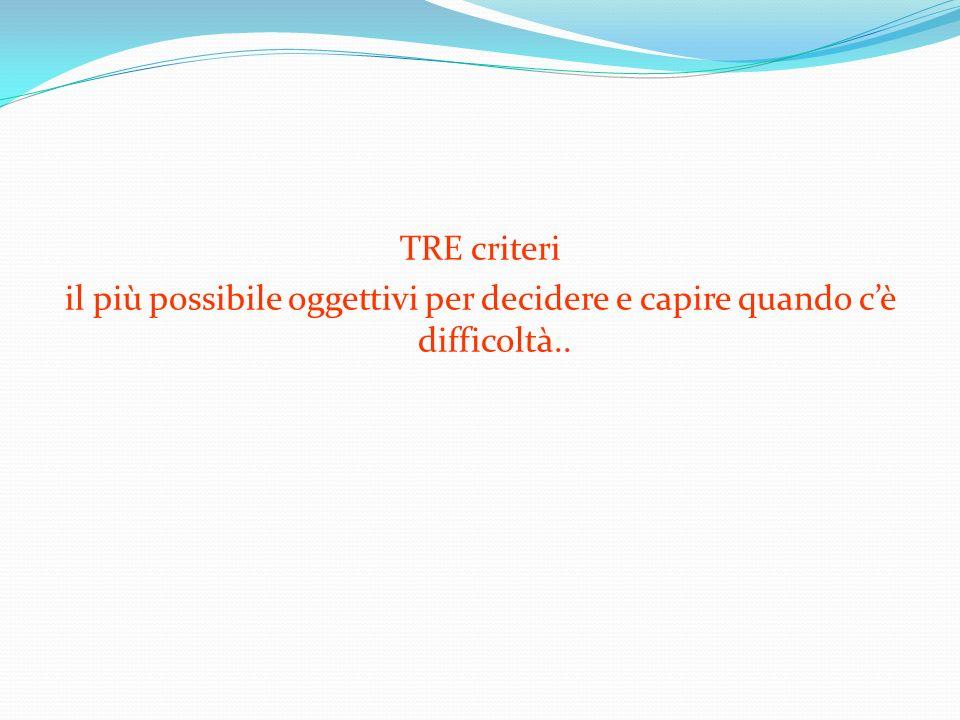 TRE criteri il più possibile oggettivi per decidere e capire quando cè difficoltà..