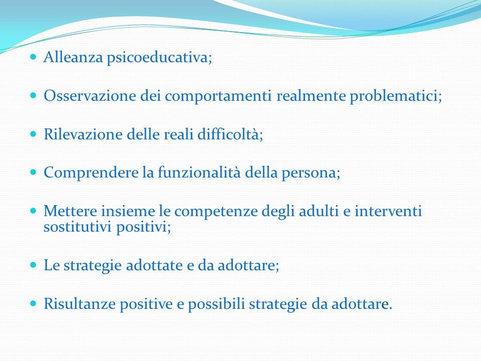 Alleanza psicoeducativa; Osservazione dei comportamenti realmente problematici; Rilevazione delle reali difficoltà; Comprendere la funzionalità della
