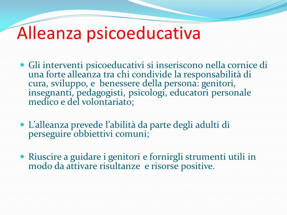 Alleanza psicoeducativa Gli interventi psicoeducativi si inseriscono nella cornice di una forte alleanza tra chi condivide la responsabilità di cura,
