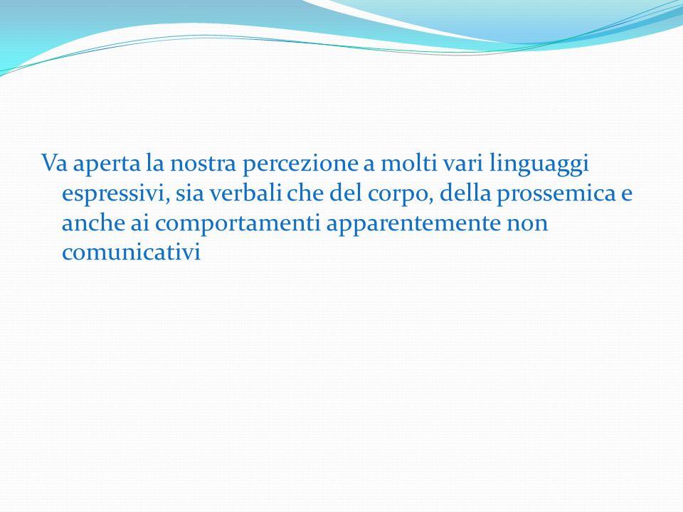 Va aperta la nostra percezione a molti vari linguaggi espressivi, sia verbali che del corpo, della prossemica e anche ai comportamenti apparentemente