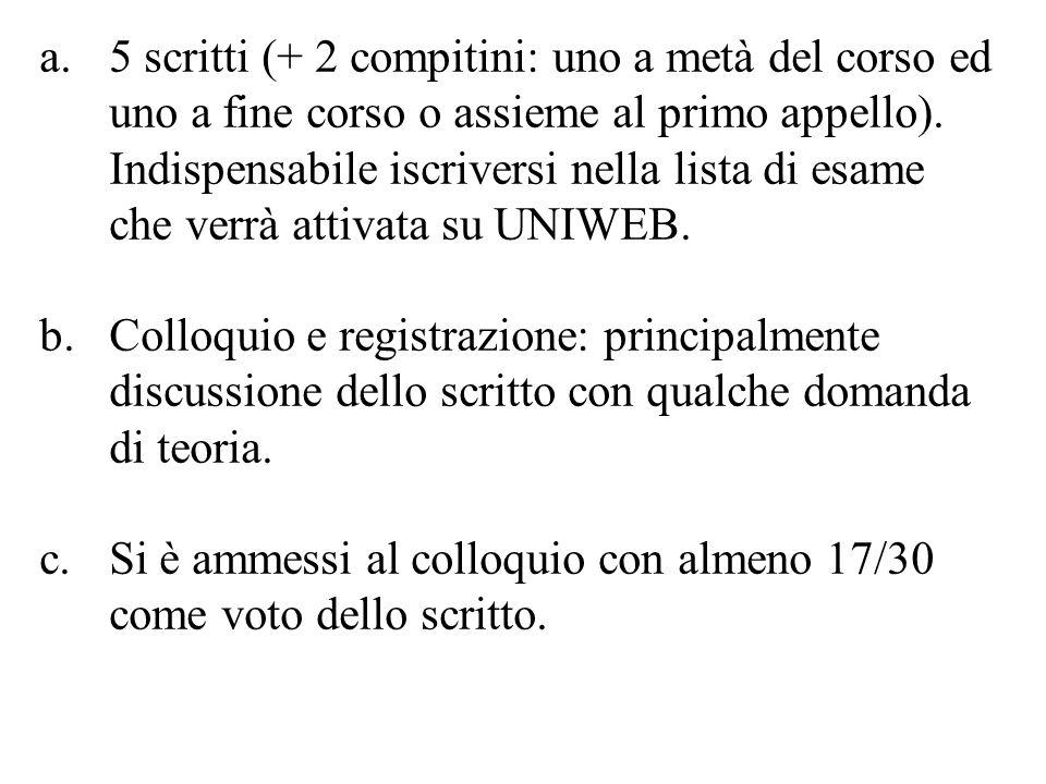 a.5 scritti (+ 2 compitini: uno a metà del corso ed uno a fine corso o assieme al primo appello).