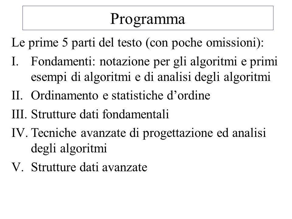 Programma Le prime 5 parti del testo (con poche omissioni): I.Fondamenti: notazione per gli algoritmi e primi esempi di algoritmi e di analisi degli algoritmi II.Ordinamento e statistiche dordine III.Strutture dati fondamentali IV.Tecniche avanzate di progettazione ed analisi degli algoritmi V.Strutture dati avanzate