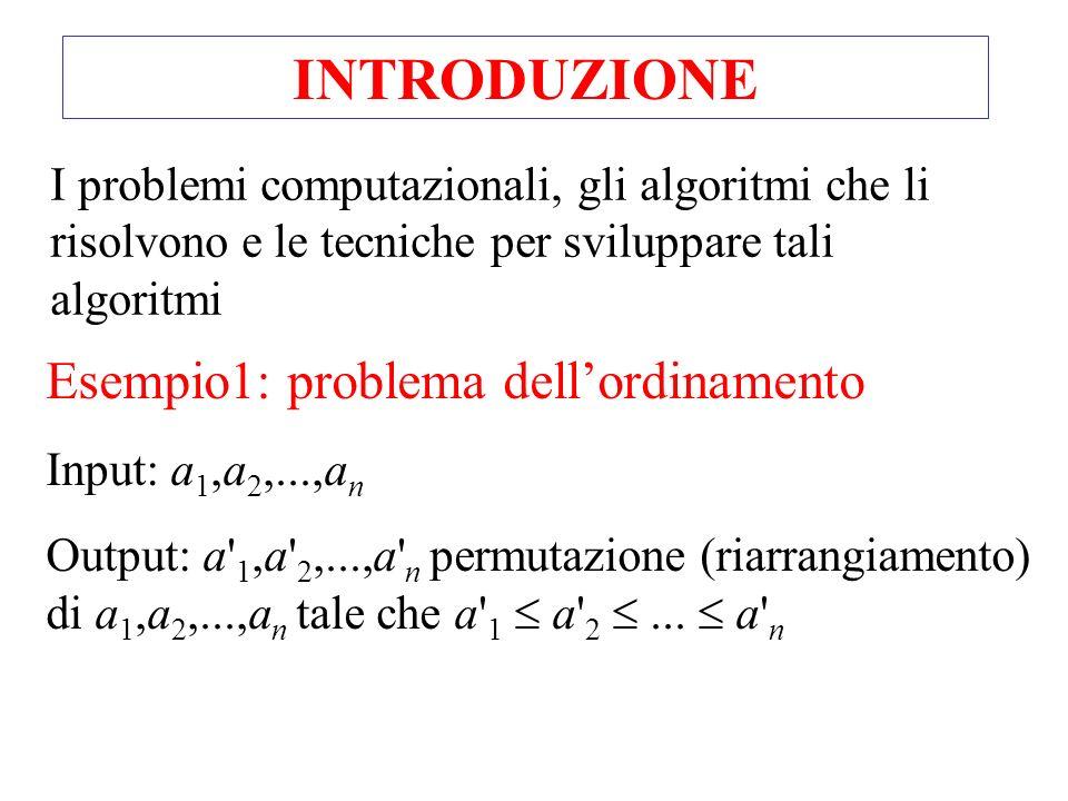 I problemi computazionali, gli algoritmi che li risolvono e le tecniche per sviluppare tali algoritmi INTRODUZIONE Esempio1: problema dellordinamento Input: a 1,a 2,...,a n Output: a 1,a 2,...,a n permutazione (riarrangiamento) di a 1,a 2,...,a n tale che a 1 a 2...