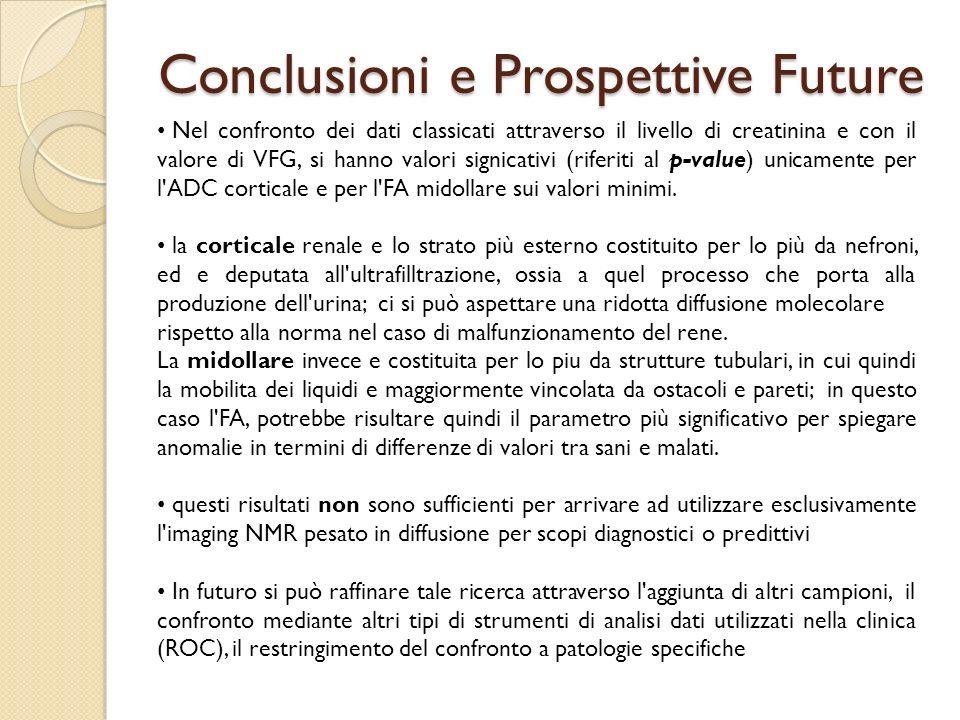 Conclusioni e Prospettive Future Nel confronto dei dati classicati attraverso il livello di creatinina e con il valore di VFG, si hanno valori signica