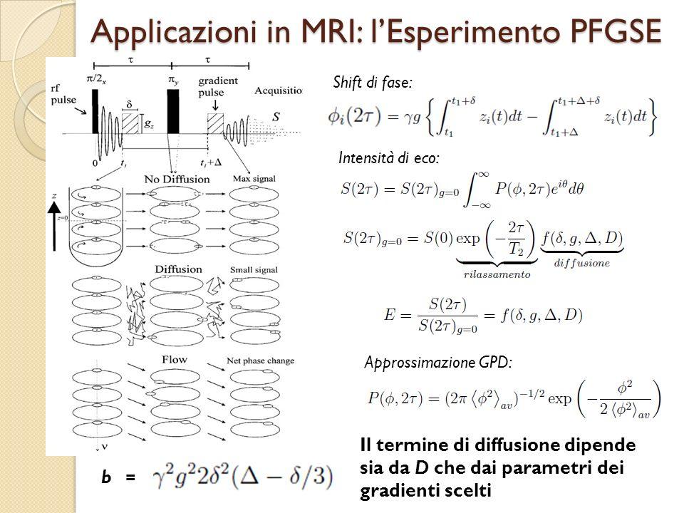 Applicazioni in MRI: lEsperimento PFGSE Shift di fase: Intensità di eco: Approssimazione GPD: Il termine di diffusione dipende sia da D che dai parame