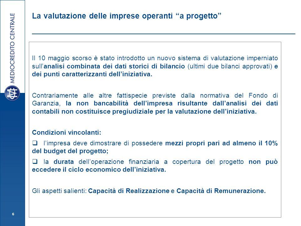 6 La valutazione delle imprese operanti a progetto Il 10 maggio scorso è stato introdotto un nuovo sistema di valutazione imperniato sullanalisi combinata dei dati storici di bilancio (ultimi due bilanci approvati) e dei punti caratterizzanti delliniziativa.