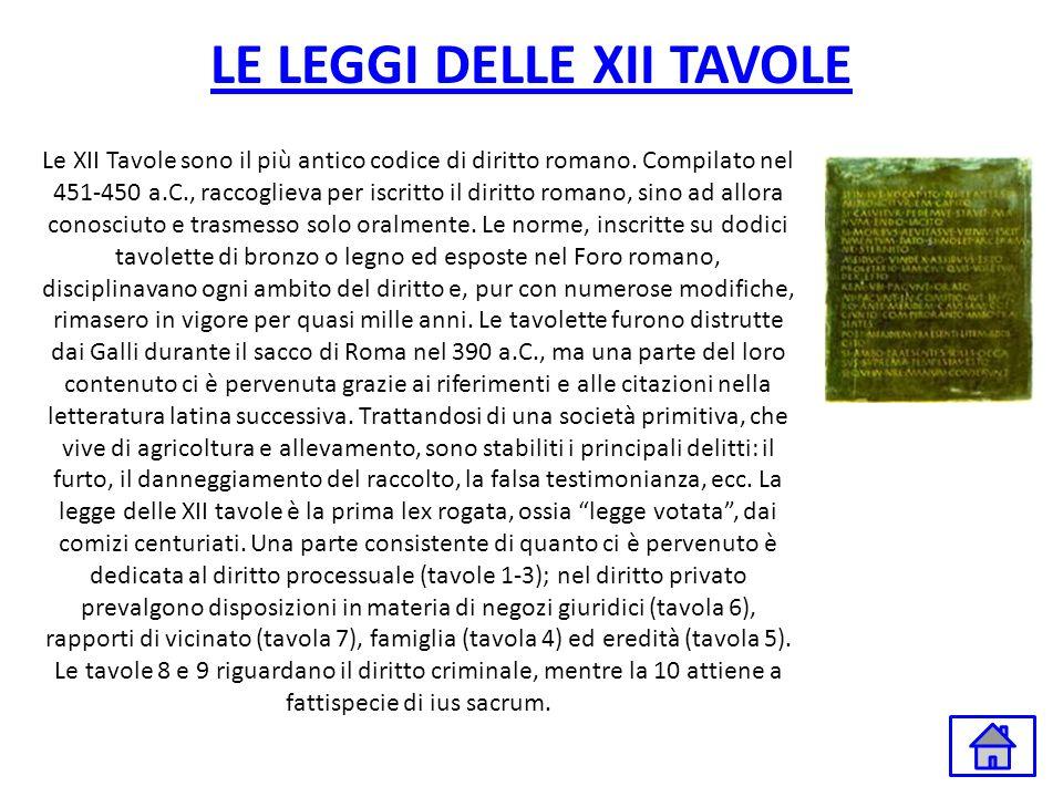 LE LEGGI DELLE XII TAVOLE Le XII Tavole sono il più antico codice di diritto romano. Compilato nel 451-450 a.C., raccoglieva per iscritto il diritto r