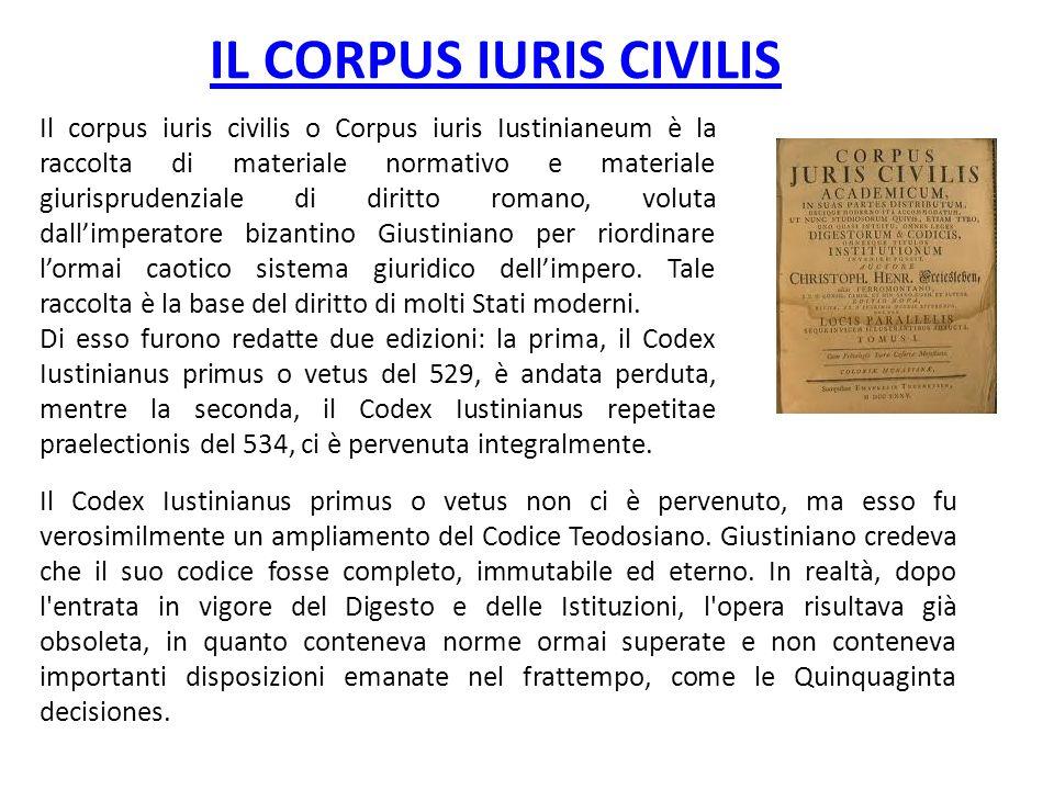 IL CORPUS IURIS CIVILIS Il corpus iuris civilis o Corpus iuris Iustinianeum è la raccolta di materiale normativo e materiale giurisprudenziale di diri