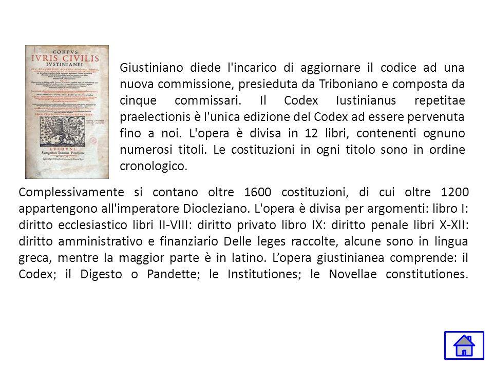 Complessivamente si contano oltre 1600 costituzioni, di cui oltre 1200 appartengono all'imperatore Diocleziano. L'opera è divisa per argomenti: libro