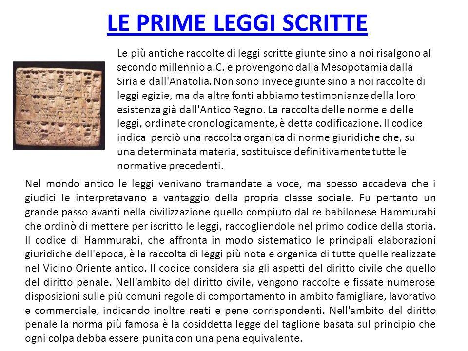 LE PRIME LEGGI SCRITTE Nel mondo antico le leggi venivano tramandate a voce, ma spesso accadeva che i giudici le interpretavano a vantaggio della prop