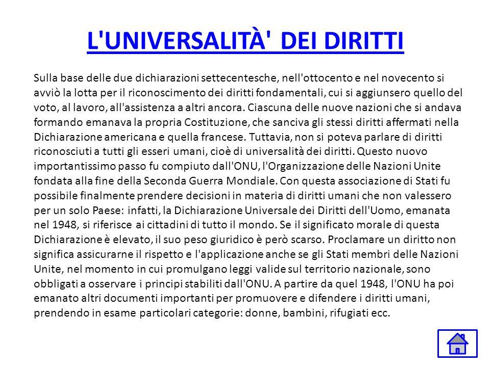 L'UNIVERSALITÀ' DEI DIRITTI Sulla base delle due dichiarazioni settecentesche, nell'ottocento e nel novecento si avviò la lotta per il riconoscimento