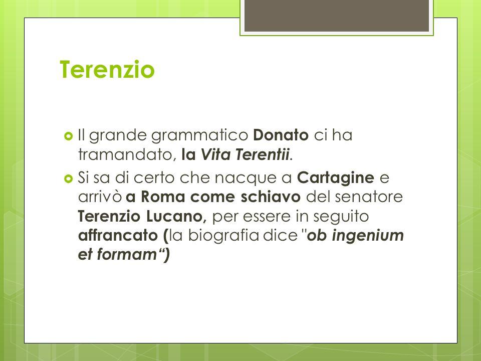 Terenzio Il grande grammatico Donato ci ha tramandato, la Vita Terentii. Si sa di certo che nacque a Cartagine e arrivò a Roma come schiavo del senato