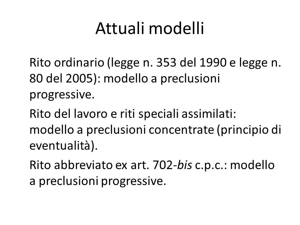 Attuali modelli Rito ordinario (legge n.353 del 1990 e legge n.