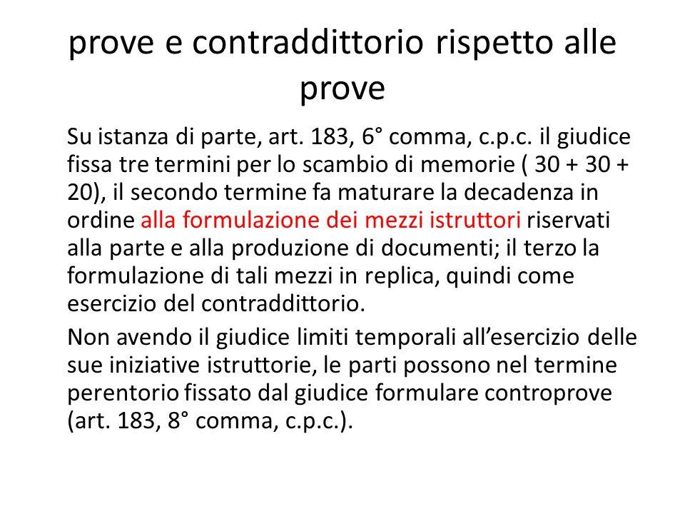 prove e contraddittorio rispetto alle prove Su istanza di parte, art.