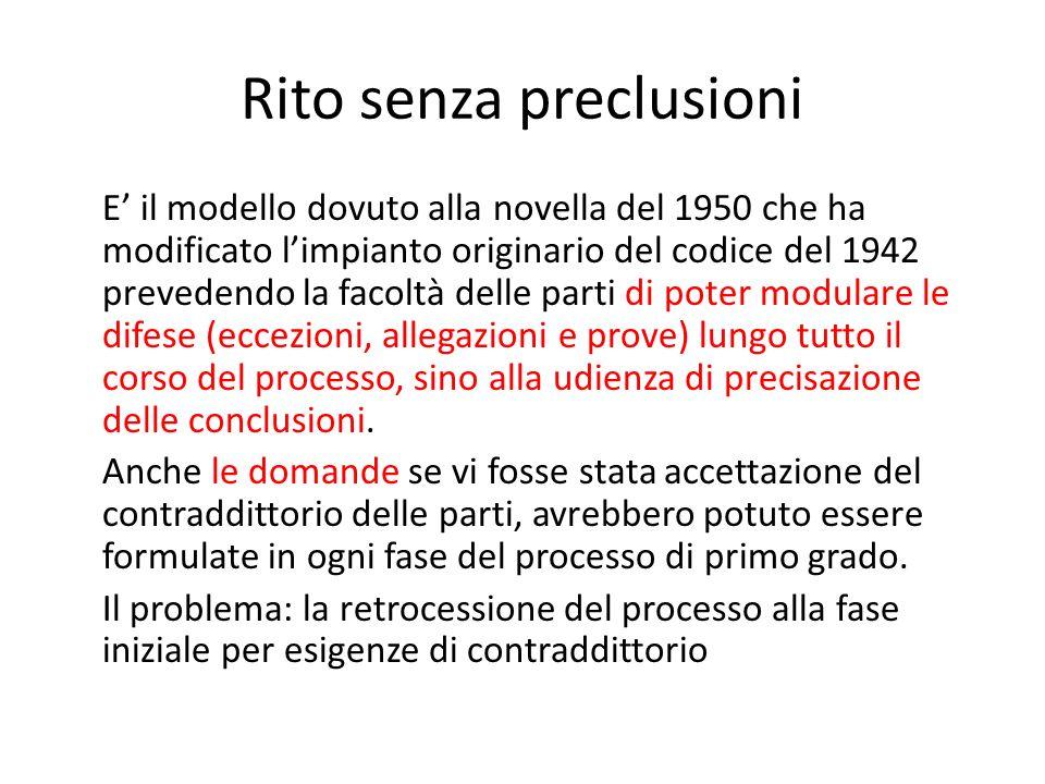 Rito con preclusioni rigide Coincide con la riforma del processo del lavoro, Legge n.