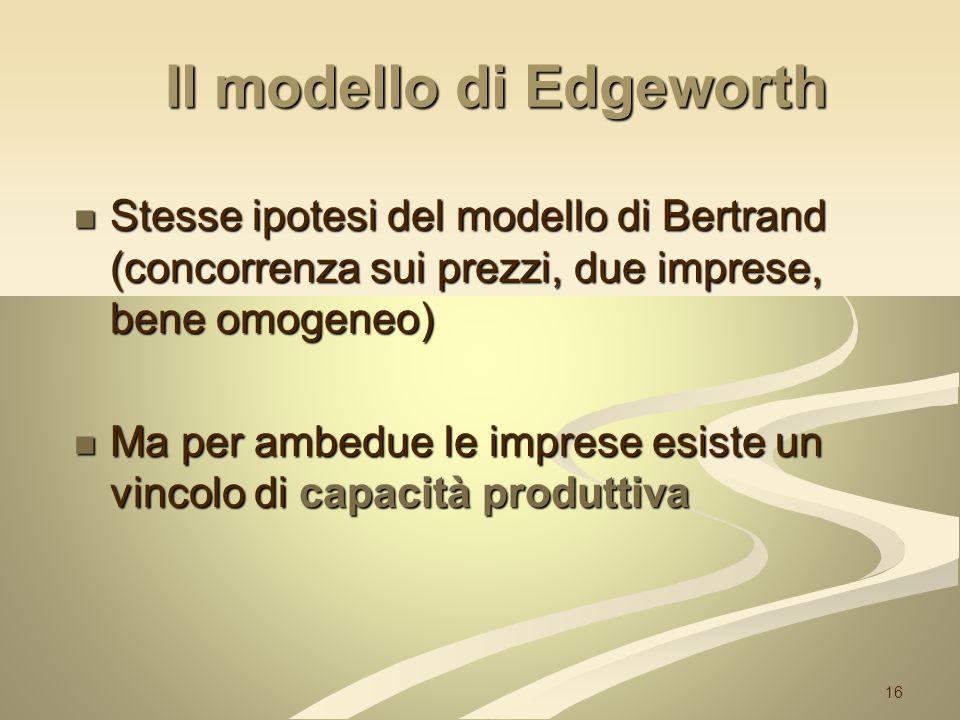 16 Il modello di Edgeworth Stesse ipotesi del modello di Bertrand (concorrenza sui prezzi, due imprese, bene omogeneo) Stesse ipotesi del modello di B