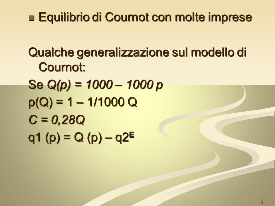 3 q2 q1 720 360 AC AB Equilibrio di Cournot- Nash q1 = R(q2) q2 = R(q1) 360 720 3 240 0 q2 = 360 se q1=0 q2 = 360 se q1=0 = 0 se q1 è monopolista (720) = 0 se q1 è monopolista (720) q1 = 360 se q2=0 q1 = 360 se q2=0 = 0 se q2 è monopolista (720) = 0 se q2 è monopolista (720)