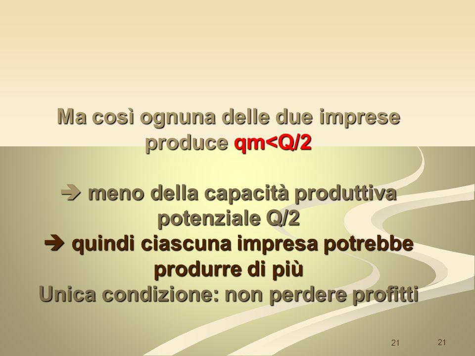 21 Ma così ognuna delle due imprese produce qm<Q/2 meno della capacità produttiva potenziale Q/2 quindi ciascuna impresa potrebbe produrre di più Unic