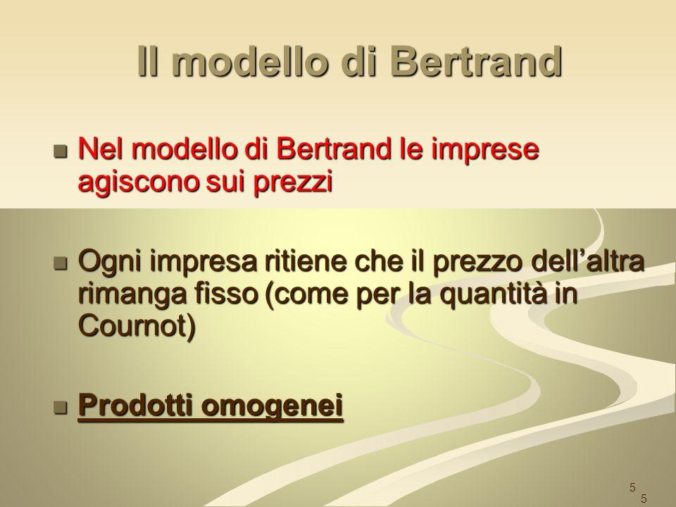 5 Il modello di Bertrand Nel modello di Bertrand le imprese agiscono sui prezzi Nel modello di Bertrand le imprese agiscono sui prezzi Ogni impresa ri