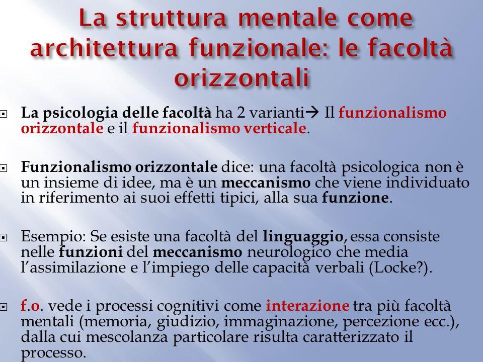La psicologia delle facoltà ha 2 varianti Il funzionalismo orizzontale e il funzionalismo verticale.