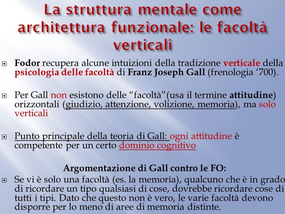 Fodor recupera alcune intuizioni della tradizione verticale della psicologia delle facoltà di Franz Joseph Gall (frenologia 700).
