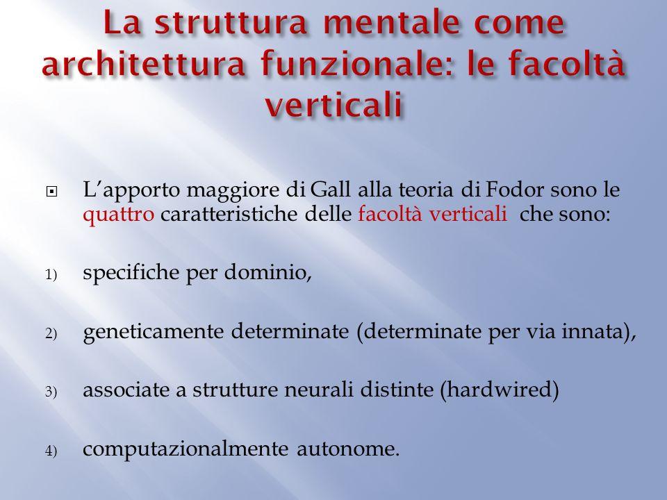 Lapporto maggiore di Gall alla teoria di Fodor sono le quattro caratteristiche delle facoltà verticali che sono: 1) specifiche per dominio, 2) geneticamente determinate (determinate per via innata), 3) associate a strutture neurali distinte (hardwired) 4) computazionalmente autonome.
